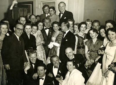 Group photo from the Rank Organisation party in 1956